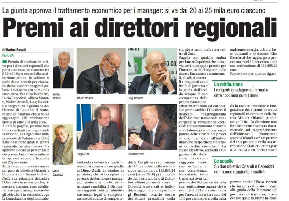 """LA GIUNTA REGIONALE APPROVA DECINE DI MIGLIAIA DI EURO DI """"PREMIO"""" AI DIRETTORI GENERALI"""