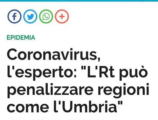 COVID-19, LA MODALITÀ DI CALCOLO DEL RISCHIO DI TRASMISSIONE PENALIZZA L'UMBRIA