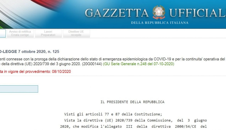 DECRETO-LEGGE 7 OTTOBRE 2020, TUTTE LE NOVITA'