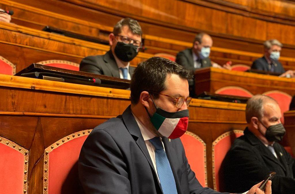 FIDUCIA GOVERNO DRAGHI, UNITA' NON E' OPZIONE, MA DOVERE. LA LEGA C'E'